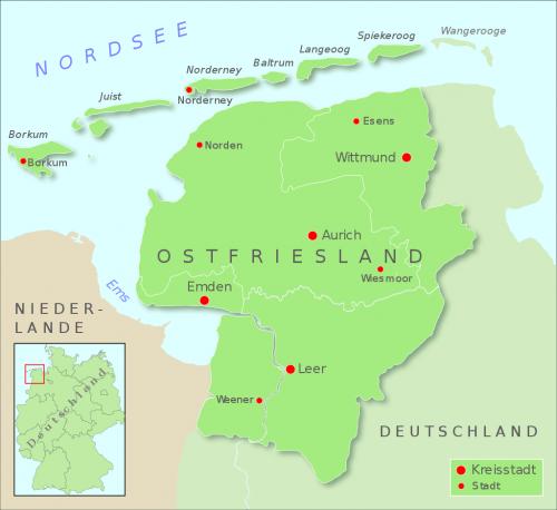 Карта Східної Фризії