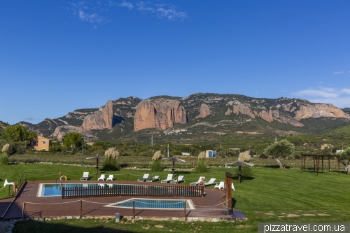 View of the cliffs of Mallos de Riglos from the hotel