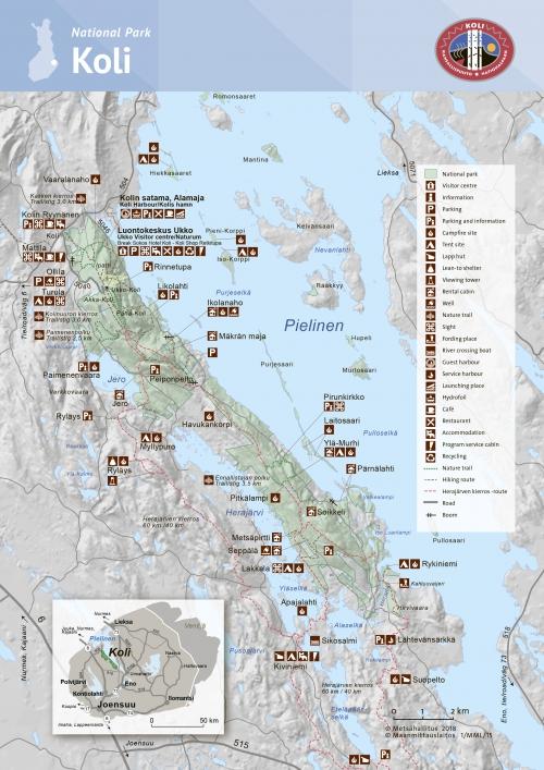 Мапа національного парку Колі
