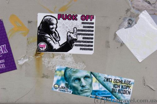 Such stickers can be found throughout Germany.
