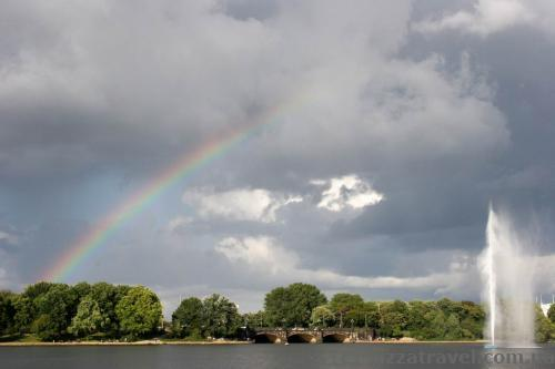 Rainbow over the Alster lake