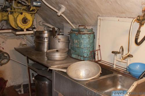 Kitchen utensils in a submarine