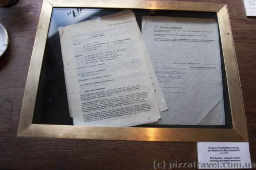 Original Beatles contract in the Beatles museum in Hamburg
