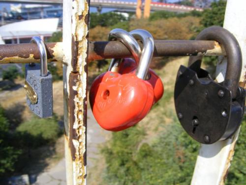 Love padlocks on the Teschin (Mother-in-Law's) bridge