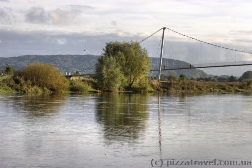 Pedestrian bridge over the Weser river in Minden