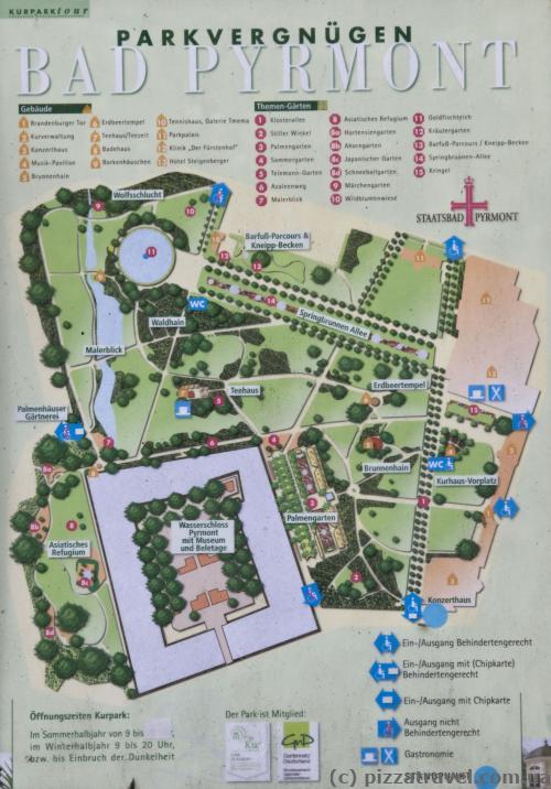 Карта Курортного парка в Бад-Пирмонте