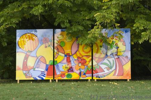 Abstract painting exhibition in the park