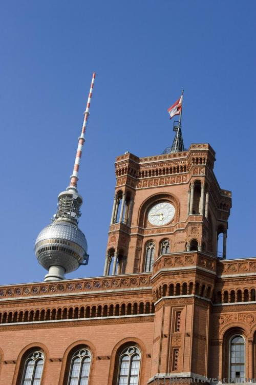 Red City Hall and the Berlin TV tower