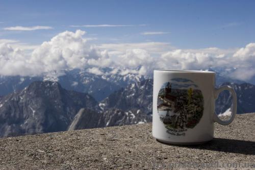 Souvenir cup on Mount Zugspitze