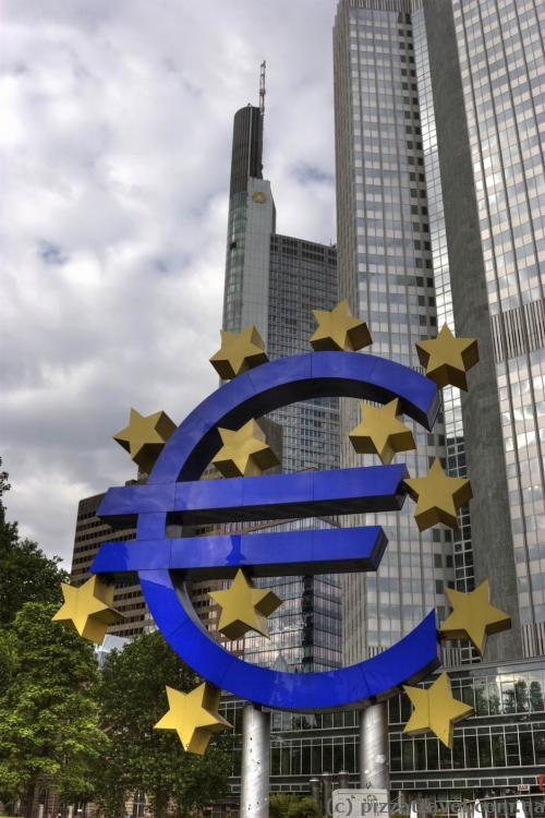 Huge Euro sign near the European Central Bank