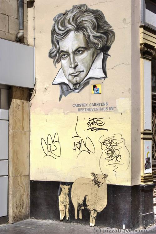 Граффити с изображением Бетховена в Бонне