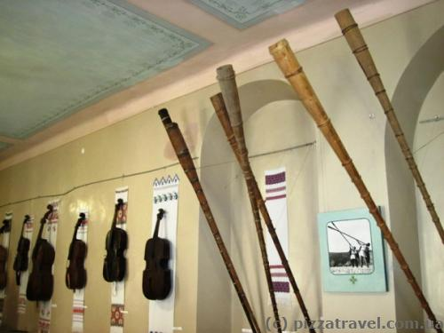 Museum inside the castle. On the right you can see trembitas - national musical instruments of Hutsuls (Ukrainian highlanders).