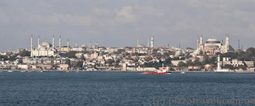 On the way to Princes' Islands - Hagia Sophia and the Blue Mosque