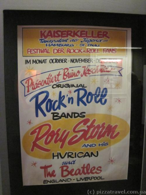 Poster about the Beatles' first performance in Hamburg