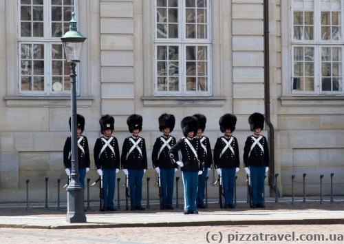 A guard of honor around the Royal Palace Amalienborg