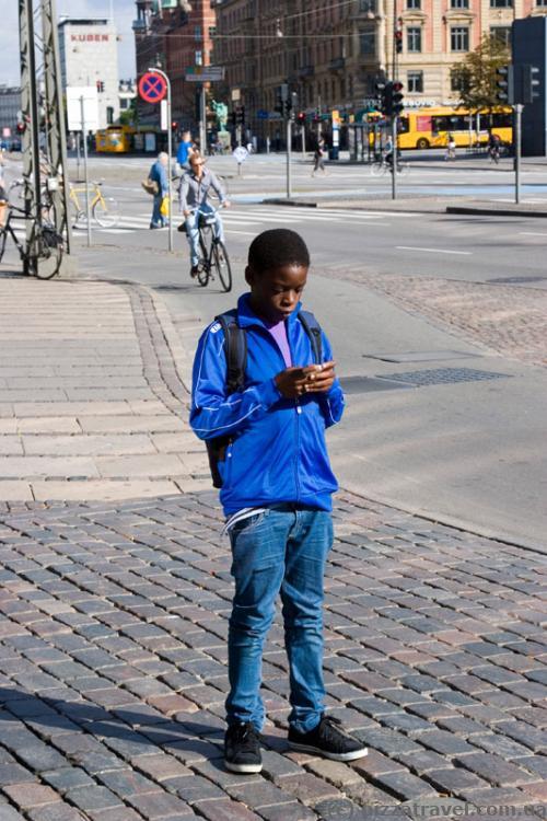 A boy on the street in Copenhagen
