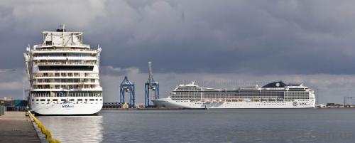 Huge ships in the port of Copenhagen