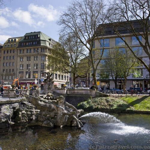Triton fountain at Koenigsallee in Duesseldorf