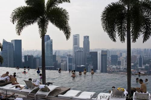 Infinity pool on the roof of Marina Bay Sands