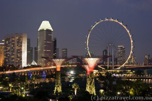 Искусственные сады и колесо обозрения в Сингапуре