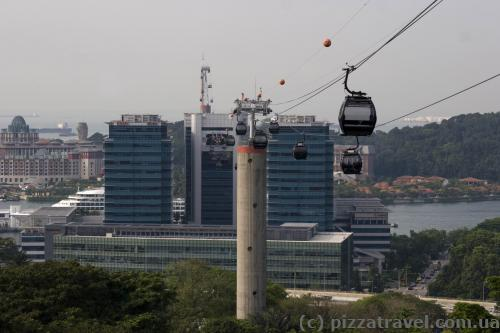 Cable car from Mount Faber to the Sentosa island
